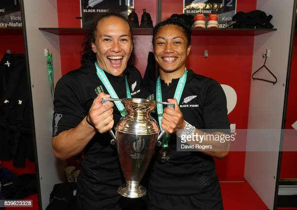 Portia Woodman and Renee Wickliffe of New Zealand celebrate with the trophy following the Women's Rugby World Cup 2017 Final between England and New...