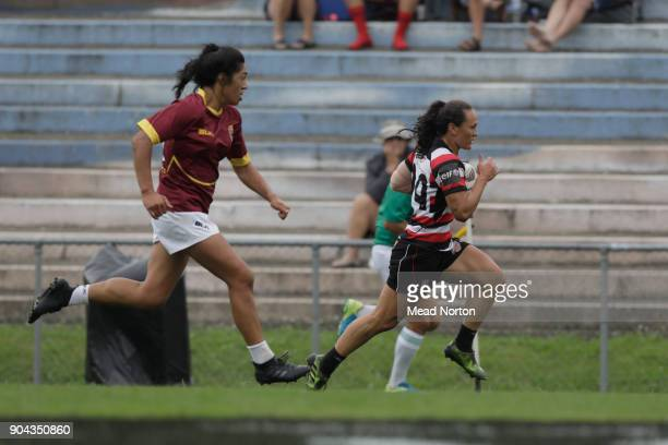 Portia Woodman during the Bayleys National Sevens match between Southland and Counties Manukau at Rotorua International Stadium on January 13 2018 in...