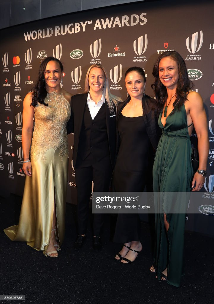 Portia Woodman, Kelly Brazier, Michaela Blyde and Ruby Tui of New Zealand attend the World Rugby Awards 2017 in the Salle des Etoiles at Monte-Carlo Sporting Club on November 26, 2017 in Monte-Carlo, Monaco.