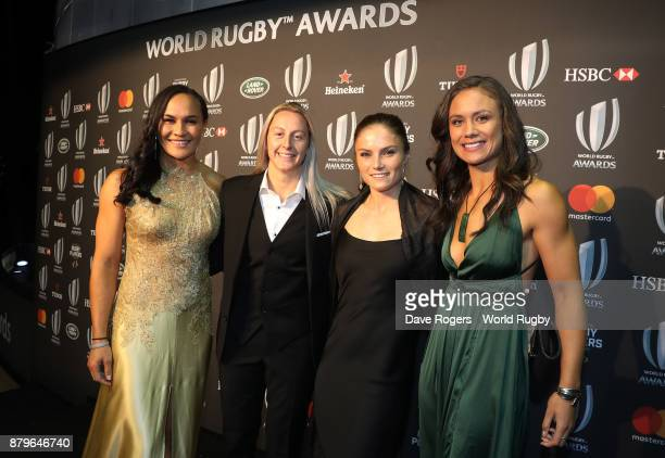 Portia Woodman Kelly Brazier Michaela Blyde and Ruby Tui of New Zealand attend the World Rugby Awards 2017 in the Salle des Etoiles at MonteCarlo...