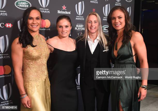 Portia Woodman Michaela Blyde Kelly Brazier and Ruby Tui of New Zealand attend the World Rugby Awards 2017 in the Salle des Etoiles at MonteCarlo...