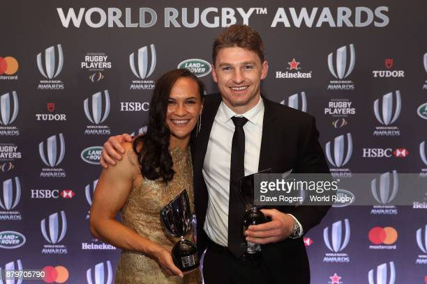 Portia Woodman of New Zealand and Beauden Barrett of New Zealand pose during the World Rugby Awards 2017 in the Salle des Etoiles at MonteCarlo...
