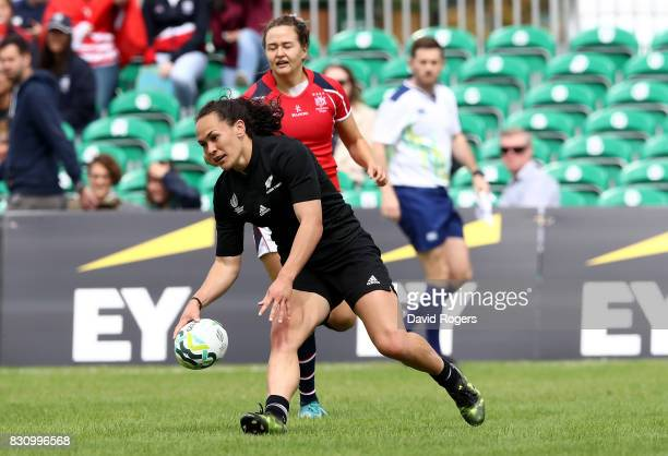 Portia Woodman of New Zealand breaks clear to score a try during the Women's Rugby World Cup 2017 match between New Zealand and Hong Kong on August...