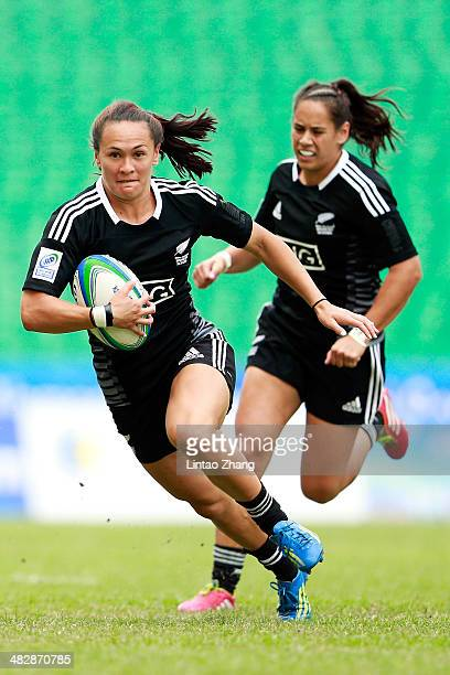 Portia Woodman of New Zealand in action during the day one of IRB Women's Sevens World Series match between New Zealand and Spain on April 5 2014 in...