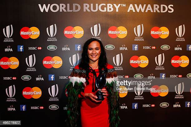 Portia Woodman of New Zealand poses after receiving the Women's 7's Player of the Year award during the World Rugby via Getty Images Awards 2015 at...