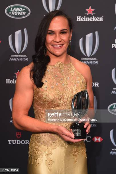 Portia Woodman of New Zealand poses with the World Rugby via Getty Images Women's Player of the Year Award in association with Mastercard during the...