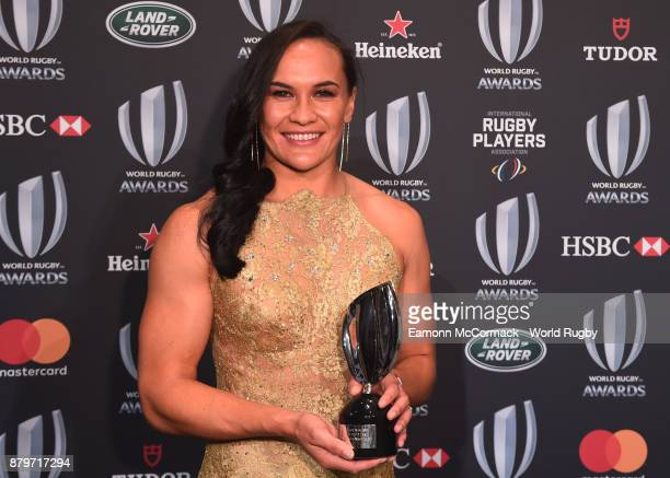 Portia Woodman of New Zealand poses with the World Rugby Women's Player of the Year Award in association with Mastercard during the World Rugby...