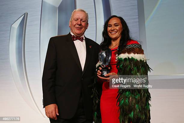Portia Woodman of New Zealand receives the Women's 7's Player of the Year award from Bill Beaumont the Chairman of the RFU during the World Rugby via...