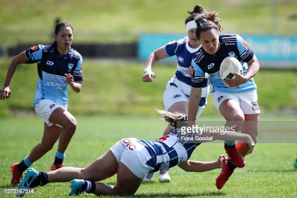 Portia Woodman of Northland takes the ball during the round 2 Farah Palmer Cup match between Northland and Auckland at Semenoff Stadium on September...