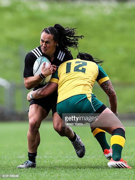 Portia Woodman of the Black Ferns runs into a tackle during the International Test match between the New Zealand Black Ferns and Australia Wallaroos...