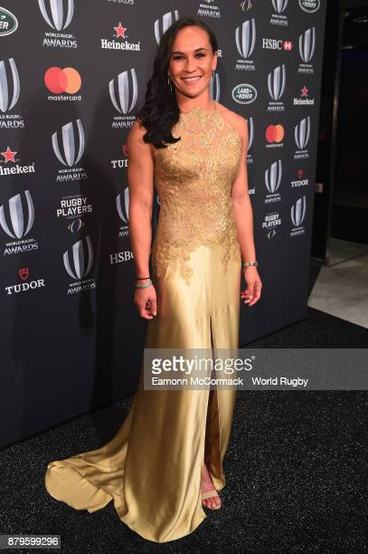 Portia Woodman of the New Zealand Black Ferns attends the World Rugby Awards 2017 in the Salle des Etoiles at MonteCarlo Sporting Club on November 26...