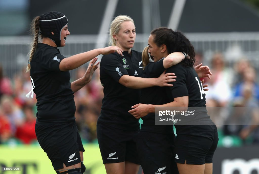 Portia Woodman (R) of the New Zealand Black Ferns celebrates after scoring one of her eight tries during the Women's Rugby World Cup 2017 Group A match between New Zealand and Hong Kong at Billings Park UCD on August 13, 2017 in Dublin, Ireland.