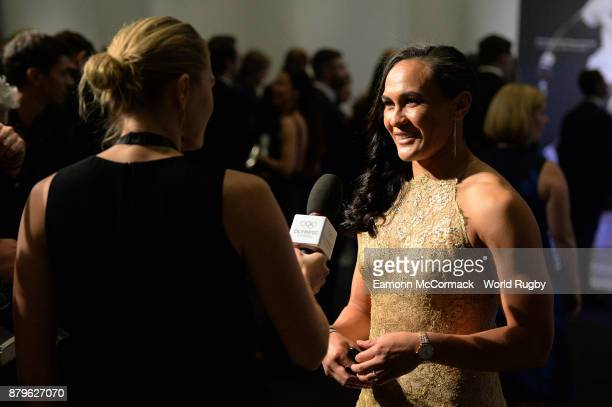 Portia Woodman of the New Zealand Black Ferns is interviewed during the World Rugby Awards 2017 in the Salle des Etoiles at MonteCarlo Sporting Club...