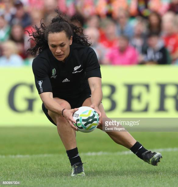 Portia Woodman of the New Zealand Black Ferns scores one of her eight tries during the Women's Rugby World Cup 2017 Group A match between New Zealand...