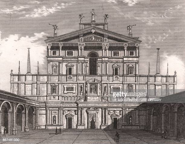 Portico and the facade of the Church of St Mary of the Miracles at St Celso Milan Lombardy Italy steel engraving from L'Italia la Sicilia le isole...