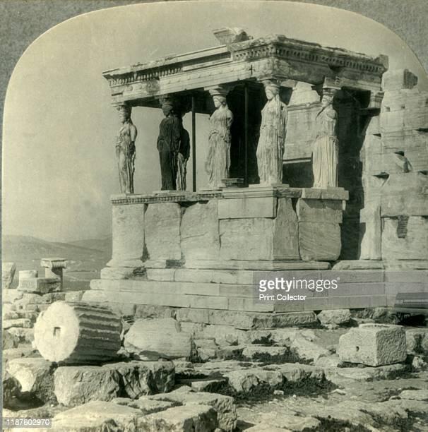 Portico of the Carytides on the Erechtheum Acropolis Athenaai Greece' circa 1930s Caryatids on the 5th century BC Erechtheum temple at the Acropolis...