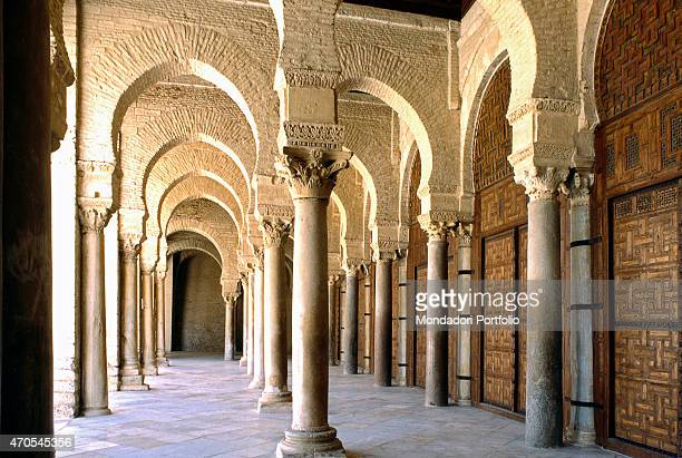 'Portico of the Kairouan's Great Mosque by Aghlabid craftmen from 836 9th Century brickwork and carved stones Tunisia Kairouan Whole artwork view...