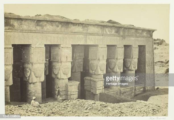 """Portico of the Temple of Dendera, 1857. Albumen print, pl. 19 from the album """"Egypt and Palestine, volume ii"""" . Artist Francis Frith."""