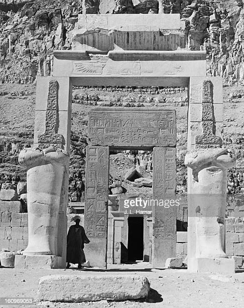 Porticos with heiroglyphic inscriptions on a terrace at the ancient Egyptian mortuary temple of Queen Hatshepsut at Deir elBahari Egypt circa 1950...