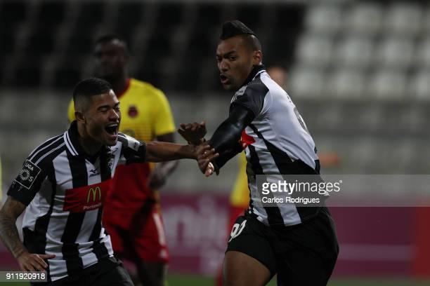 Portimonense forward Fabricio from Brazil celebrates scoring Portimonense first goal with Portimonense forward Bruno Tabata from Brazil during the...