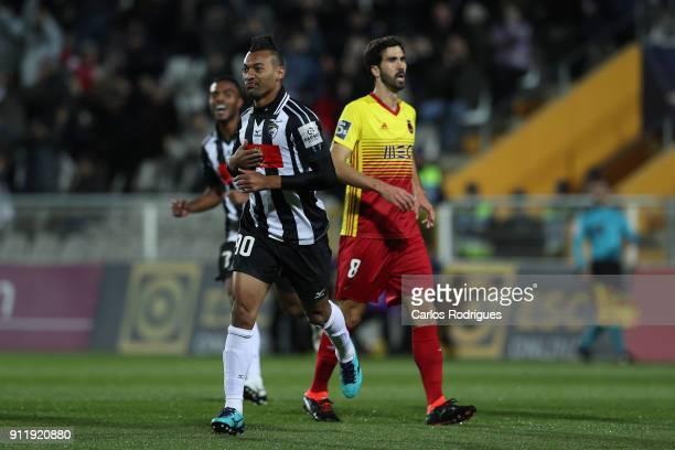 Portimonense forward Fabricio from Brazil celebrates scoring Portimonense second goal during the match between Portimonense SC and Rio Ave FC for the...