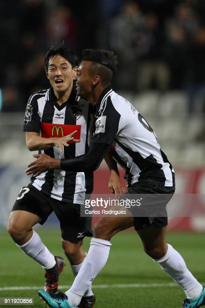 Portimonense forward Shoya Nakajima from Japan celebrates scoring Portimonense third goal with Portimonense forward Fabricio from Brazil during the...