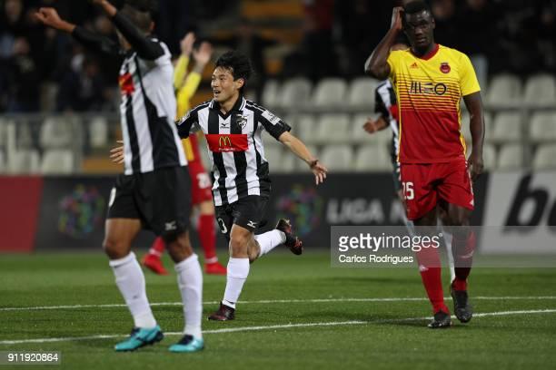 Portimonense forward Shoya Nakajima from Japan celebrates scoring Portimonense third goal during the match between Portimonense SC and Rio Ave FC for...