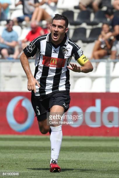 Portimonense SC defender Ricardo Pessoa from Portugal celebrates scoring Portimonense's first goal during the match between Portimonense SC and GD...