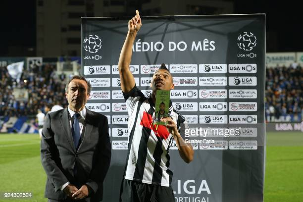 Portimonense SC forward Fabricio from Brazil receives the award for best midfielder in the Portuguese League in the month of January before the start...