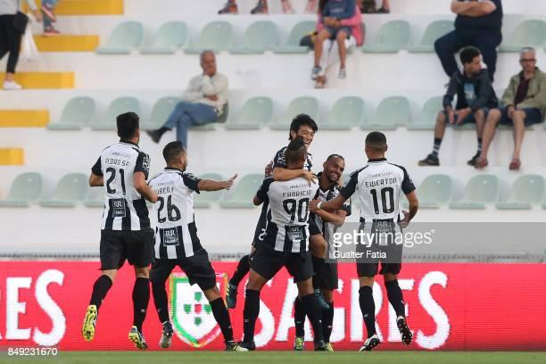 Portimonense SC forward Shoya Nakajima from Japan celebrates with teammates after scoring a goal during the Portuguese Primeira Liga match between...