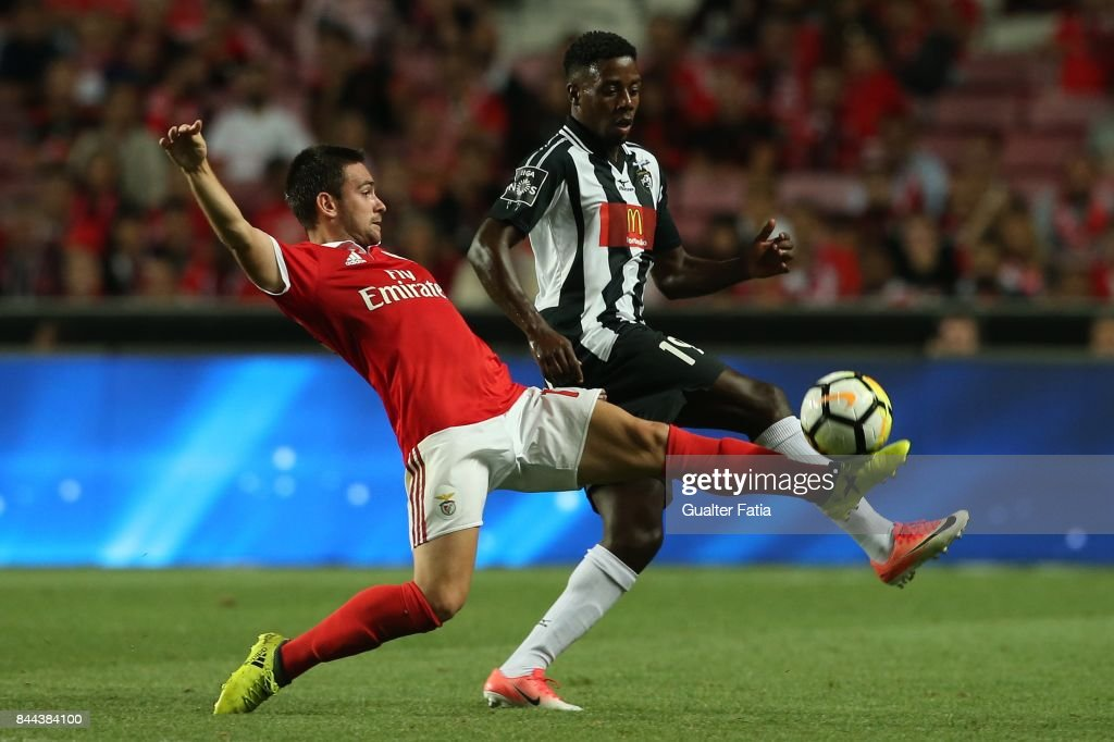 Portimonense SC forward Wilson Manafa from Portugal with SL Benfica forward Andrija Zivkovic from Serbia in action during the Primeira Liga match between SL Benfica and Portimonense SC at Estadio da Luz on September 8, 2017 in Lisbon, Portugal.