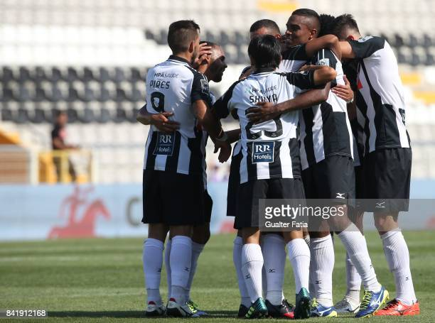 Portimonense SC midfielder Fabricio Messias from Brazil celebrates with teammates after scoring a goal during the Portuguese League Cup match between...