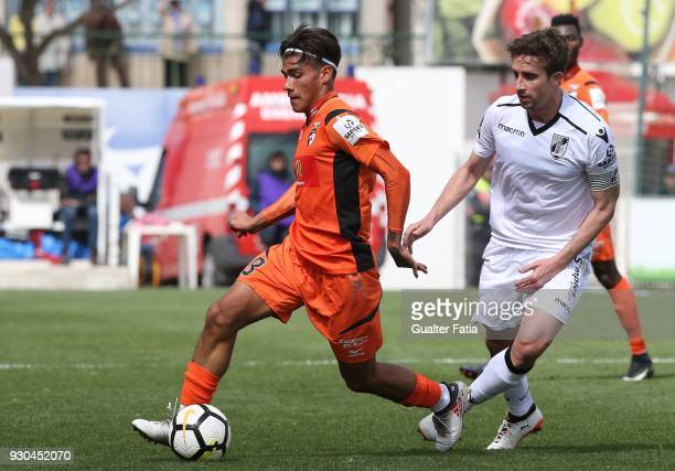Portimonense SC midfielder Fede Varela from Argentina with Vitoria Guimaraes midfielder Rafael Miranda from Brazil in action during the Portuguese...