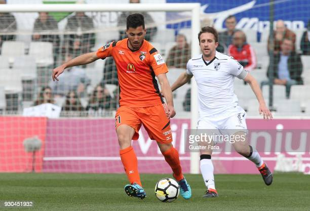 Portimonense SC midfielder Pedro Sa from Portugal with Vitoria Guimaraes midfielder Rafael Miranda from Brazil in action during the Portuguese...