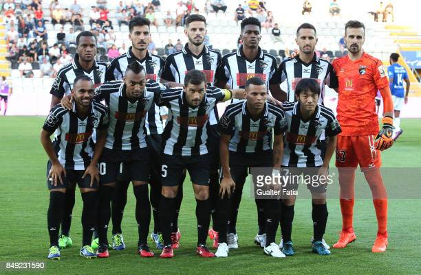 Portimonense SC players pose for a team photo before the start of the Portuguese Primeira Liga match between Portimonense SC and CD Feirense at...