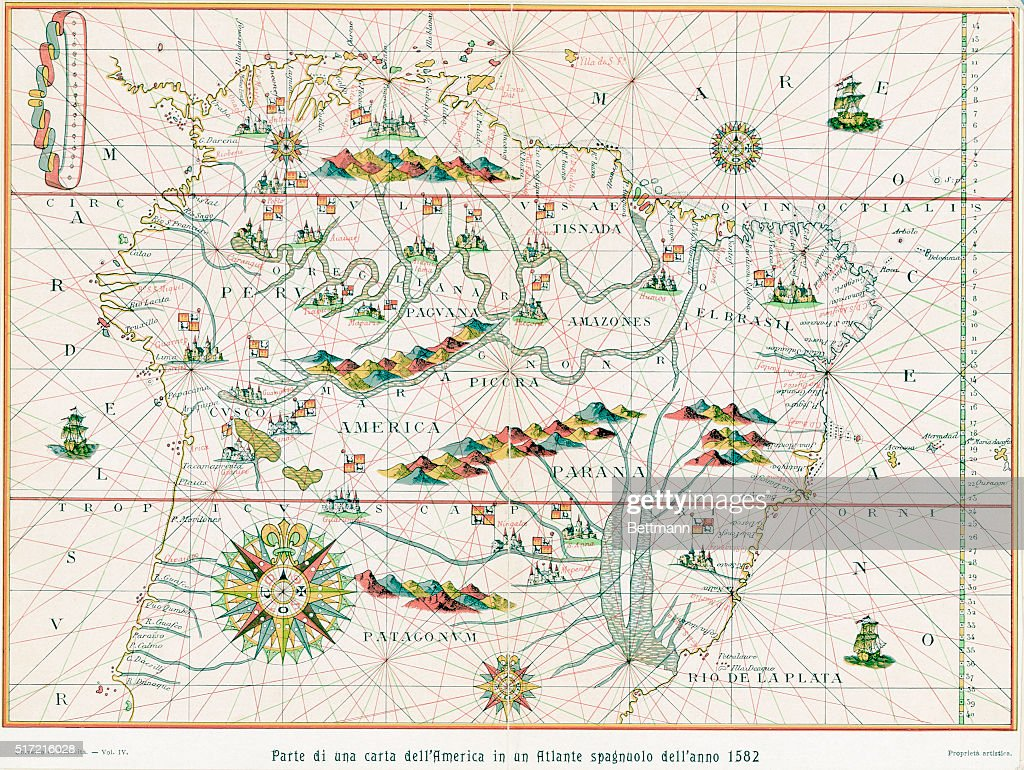 A portion of a map of South America, from a Spanish atlas of ...