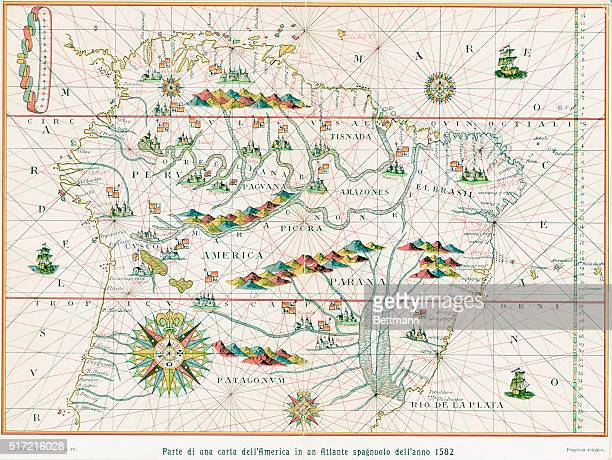 A portion of a map of South America from a Spanish atlas of the year 1582 Color illustration