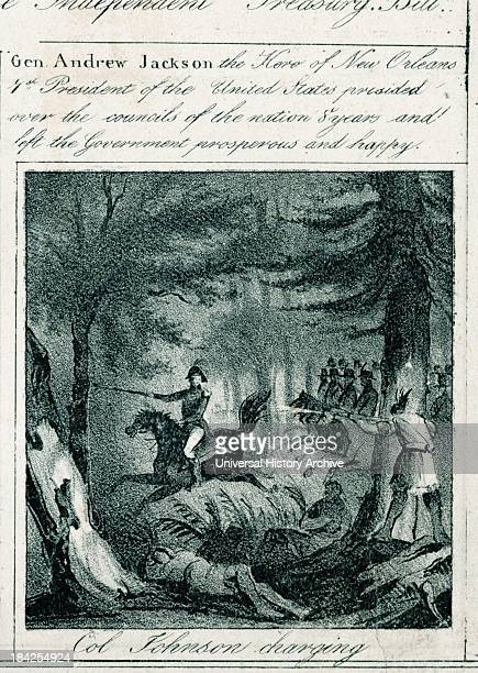 Portion of an illustrated DemocraticRepublican poster from the 1800's Containing text about President Andrew Jackson and a drawn image of General...