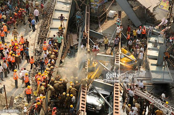 Portion of an underconstruction flyover collapsed on a congested intersection of Vivekananda road at Burrabazar area on March 31 2016 in Kolkata...