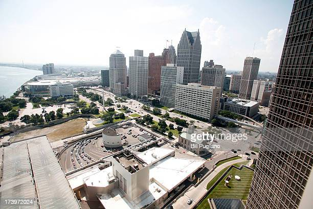 A portion of downtown Detroit along the Detroit river is shown July 18 2013 in Detroit Michigan Detroit today filed for Chapter 9 bankruptcy making...