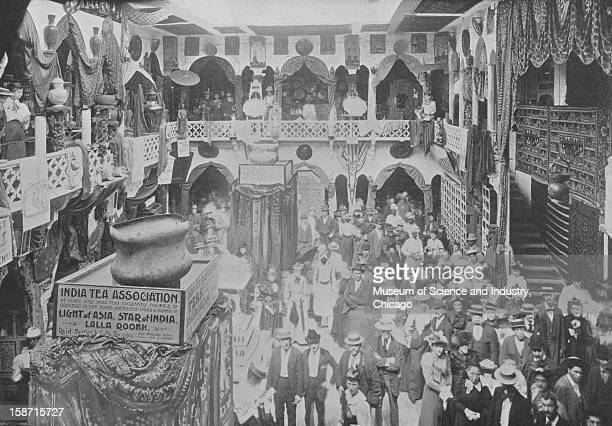 A portion of S J Tellery Company's East India exhibit at the World's Columbian Exposition in Chicago Illinois 1893 This image was published in...