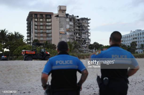 Portion of the 12-story condo tower crumbled to the ground during a partially collapse of the building on June 24, 2021 in Surfside, Florida. It is...