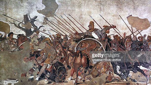 Portion of the Alexander Mosaic which shows Alexander the Great conquering Darius III of Persia Dating from circa 100 BC and originally made for the...