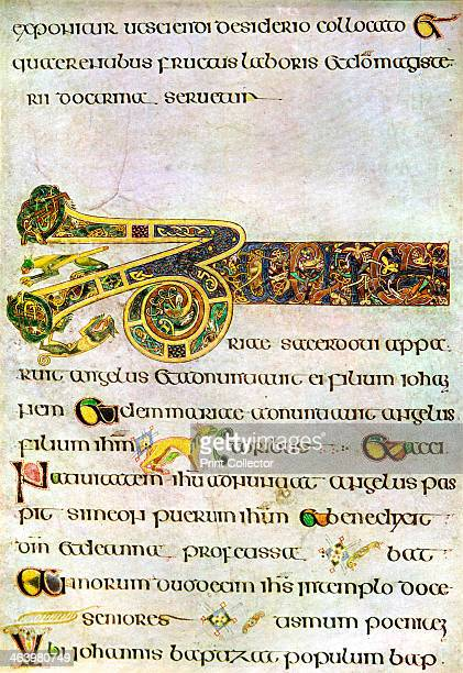 Portion of The Argument to the Gospel of St John 800 AD A 20thcentury copy of the illustrated manuscript produced by Celtic monks around AD 800...