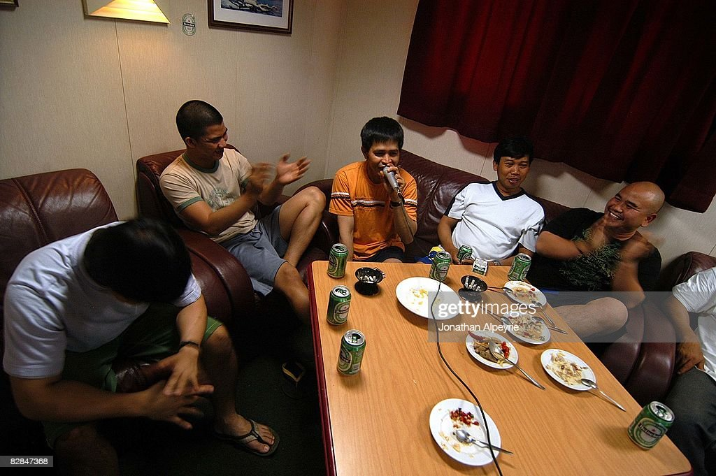 A portion of the Filipino crew is having a relaxed time by signing Karaoke, on July 19, 2008, in France. karaoke is a very popular activity amongst the Filipino crew members.