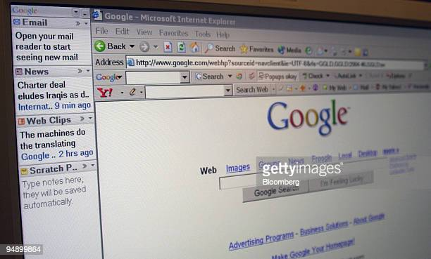 A portion of the new Google vertical sidebar tool at left is shown next to the Google homepage in this screenshot taken Monday August 22 2005 Google...