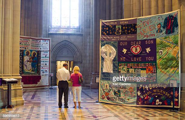 Portions of the AIDS Memorial Quilt is hung in the National Cathedral July 19 2012 The NAMES Foundation is hanging panels in more than 50 sites...