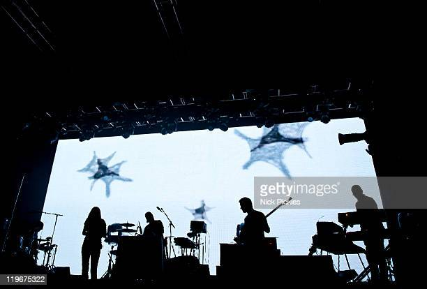 Portishead' perform on day one of 'I'll Be Your Mirror' at Alexandra Palace on July 23, 2011 in London, England.