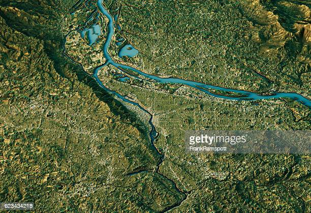 portland 3d landscape view south-north natural color - frankramspott stockfoto's en -beelden