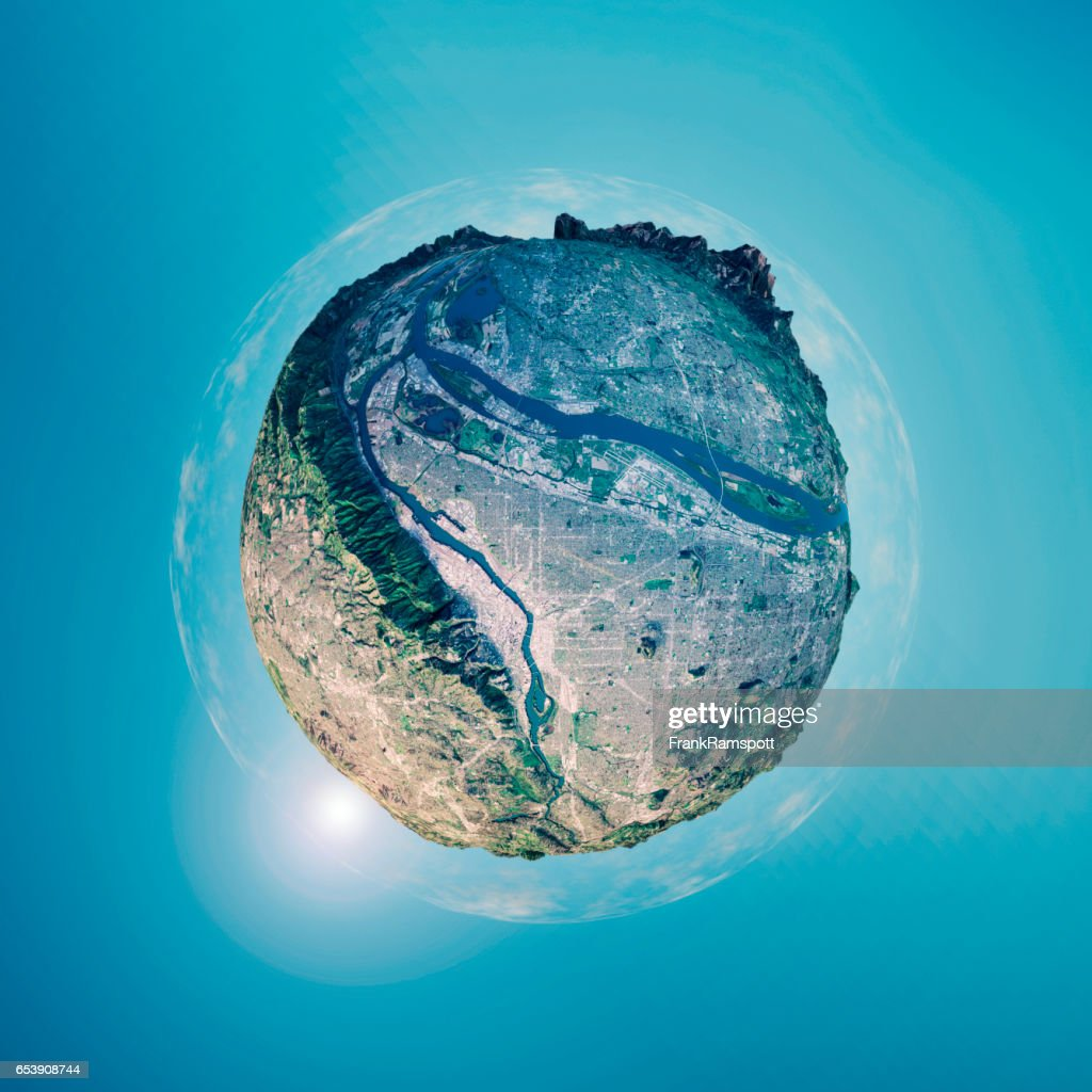 Portland 3D Little Planet 360-Degree Sphere Panorama : Stock Photo